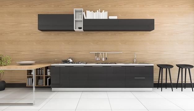 Representación 3d de cocina moderna de lujo