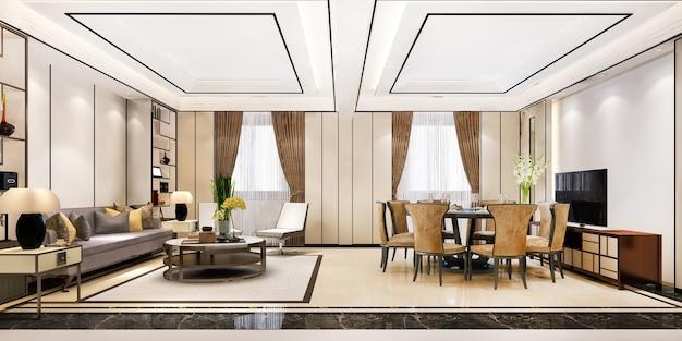 Representación 3d comedor moderno y sala de estar con decoración de lujo