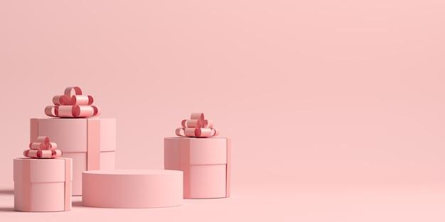 Representación 3d de la composición abstracta para la presentación del producto con cajas de regalo Foto Premium
