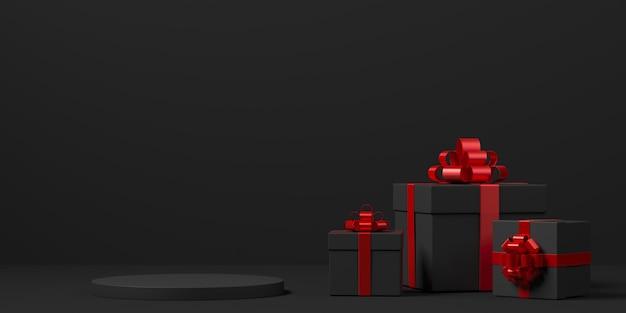 Representación 3d de la composición abstracta para la presentación del producto con cajas de regalo