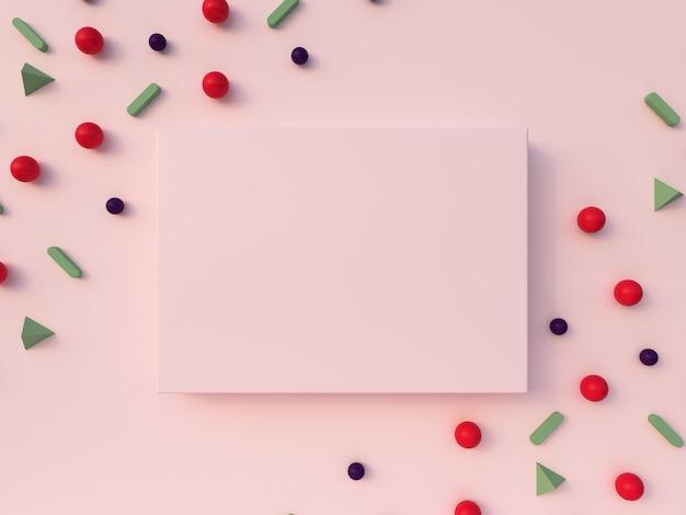 Representación 3d composición de formas geométricas. rosa, verde, rojo, formas blancas y marco de fotos rosa sobre un fondo rosa pastel.