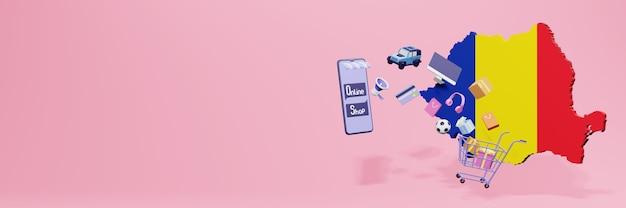 Representación 3d de compras en línea en rumania para redes sociales y sitios web