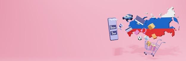 Representación 3d de compras en línea en rusia para redes sociales y sitios web
