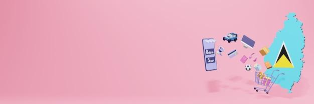 Representación 3d de compras en línea en santa lucía para redes sociales y sitios web