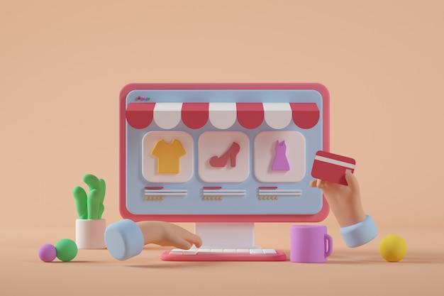 Representación 3d de computadora de dibujos animados de tienda online