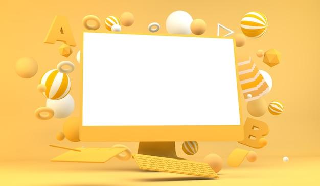 Representación 3d de computadora de diseño gráfico
