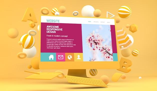 Representación 3d de computadora de diseño web gráfico