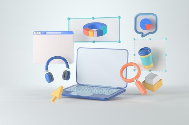 Representación 3d de computadora portátil e infografía.