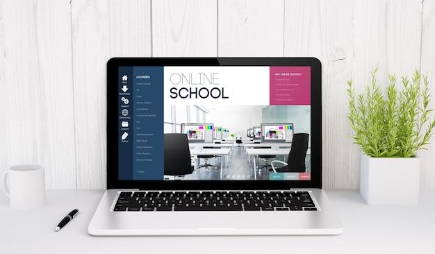 Representación 3d de una computadora portátil con la escuela en línea en la mesa