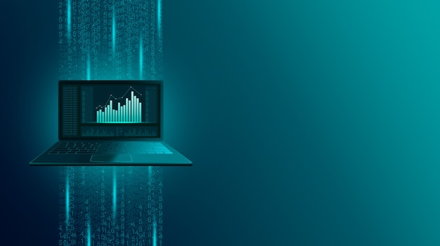 Representación 3d de una computadora portátil flotante rodeada de datos