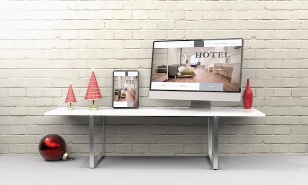 Representación 3d de computadora portátil, móvil y tableta que muestra el diseño web receptivo del hotel.