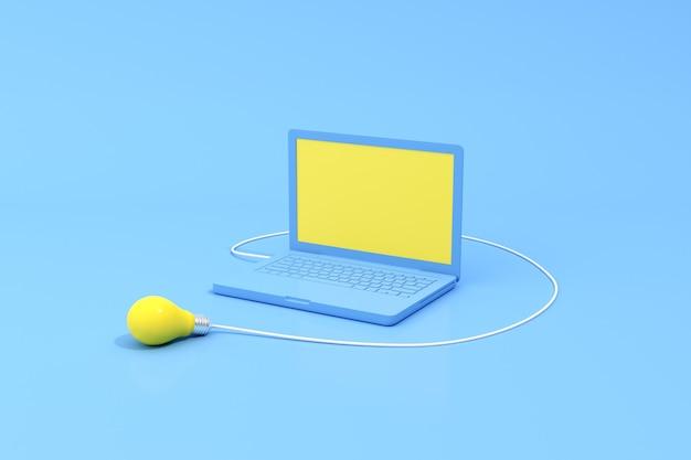 Representación 3d de una computadora portátil con pantalla en blanco y una bombilla de luz amarilla.