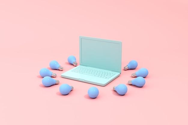Representación 3d de una computadora portátil con pantalla en blanco y bombillas.