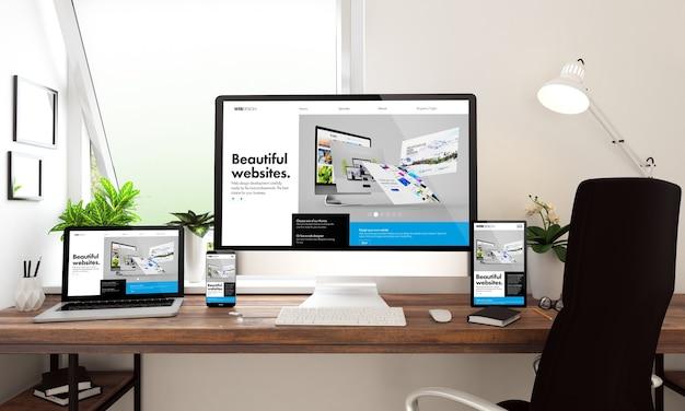 Representación 3d de computadora, portátil, tableta y teléfono inteligente que muestra el creador de sitios web