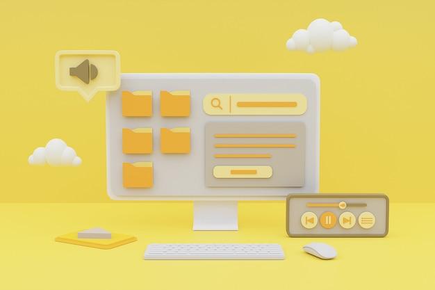 Representación 3d de computadora que muestra el concepto de gestión de contenido multimedia sobre fondo amarillo.