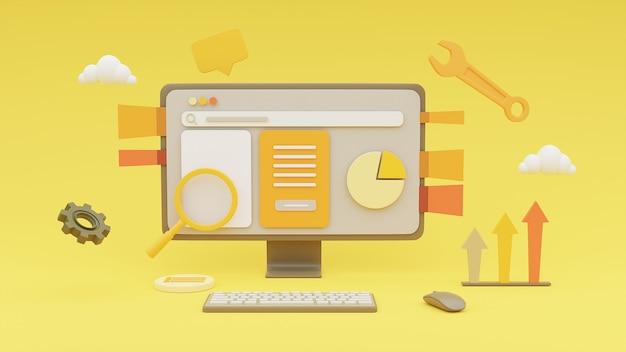 Representación 3d de computadora que muestra el concepto de sitio web de marketing en línea sobre fondo amarillo.