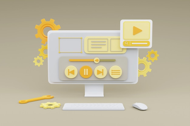 Representación 3d de computadora que muestra la gestión de contenido multimedia para el concepto de desarrollo de marketing en línea del sitio web.