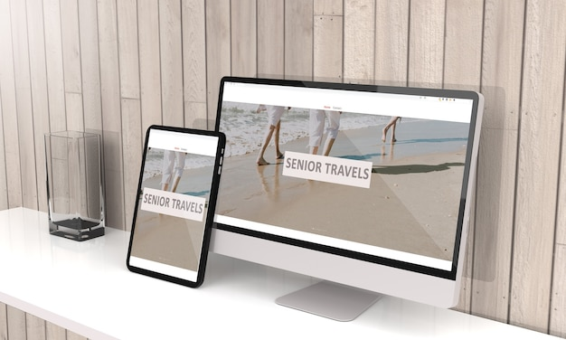 Representación 3d de computadora y tableta que muestra la agencia de viajes para personas mayores diseño web receptivo .3d ilustración