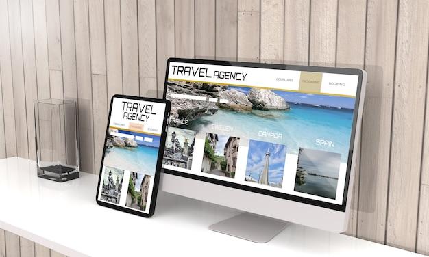Representación 3d de computadora y tableta que muestra el diseño web receptivo de la agencia de viajes.ilustración 3d