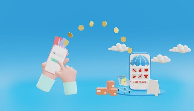 Representación 3d, concepto de ahorro de dinero. transferencia de dinero a la tienda y transferencia al banco del teléfono móvil, monedas, tarjeta de crédito