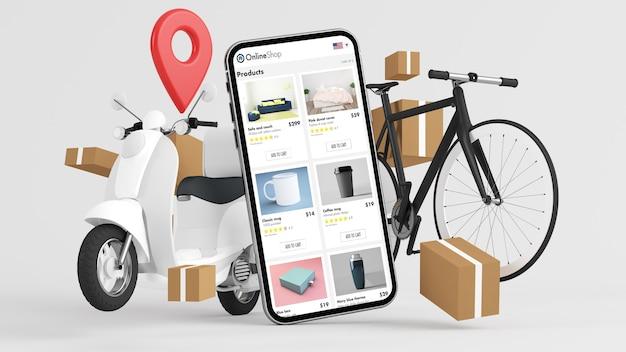 Representación 3d del concepto de aplicación de tienda online