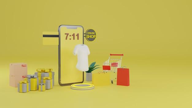 Representación 3d concepto de compras online de aplicaciones móviles.