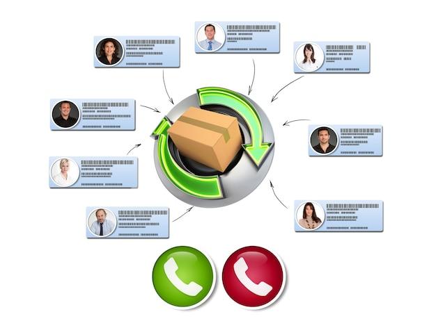 Representación 3d de un concepto de entrega de productos con una videoconferencia