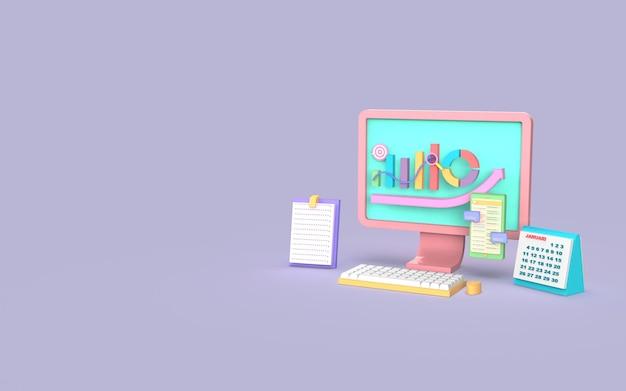 Representación 3d del concepto de gráfico de barras de marketing digital de computadora de redes sociales