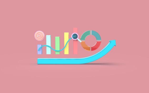 Representación 3d del concepto de gráfico de barras de marketing digital de redes sociales