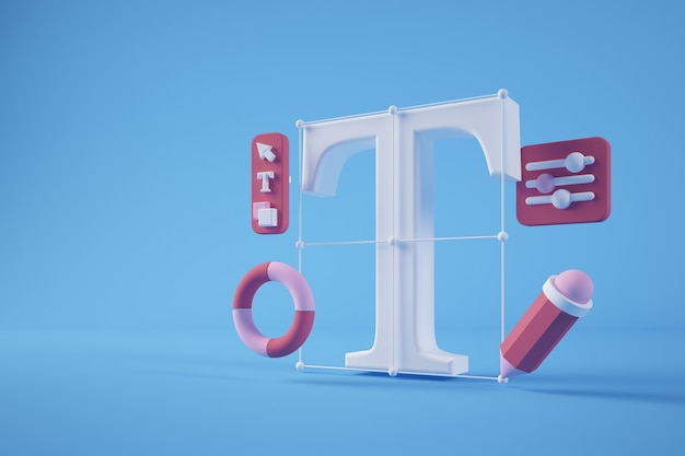 Representación 3d del concepto de herramientas de diseño gráfico
