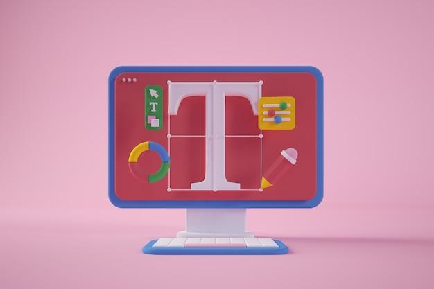 Representación 3d del concepto mínimo de la computadora del diseño gráfico