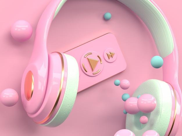 Representación 3d del concepto de la tecnología del entretenimiento de la música del auricular del oro rosado