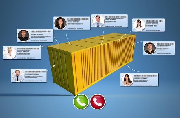 Representación 3d de un contenedor de carga conectado a diferentes contactos comerciales que realizan una llamada de conferencia