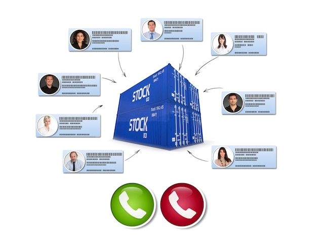 Representación 3d de contenedores de carga conectados a diferentes contactos comerciales que realizan una llamada de conferencia
