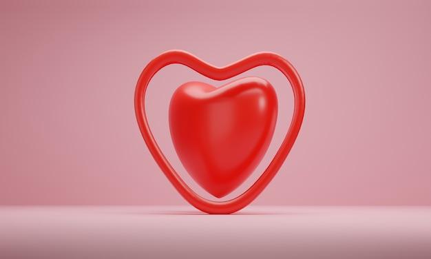 Representación 3d, corazones rojos sobre fondo rosa. símbolos de amor para el diseño de tarjetas de felicitación.