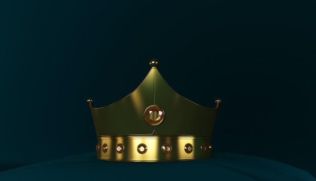 Representación 3d de la corona de oro, corona de oro real en la almohada