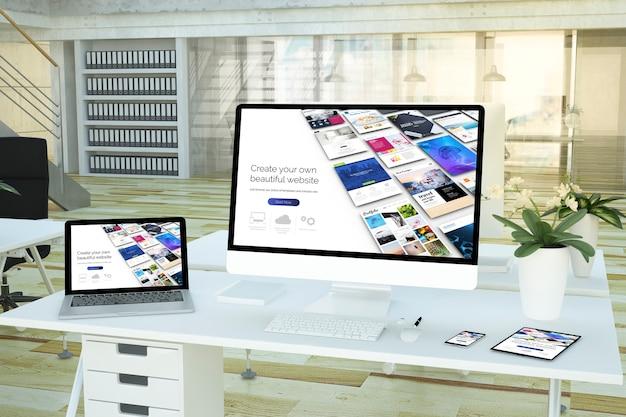 Representación 3d del creador de sitios web de dispositivos receptivos