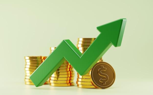 Representación 3d del crecimiento del mercado de valores de la moneda de oro del dólar