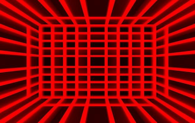 Representación 3d, cuadrado del panel de luz roja sobre fondo de pared oscura,