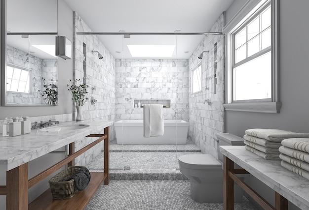 Representación 3d del cuarto de baño moderno mínimo con decoración escandinava y vista agradable de la naturaleza desde la ventana