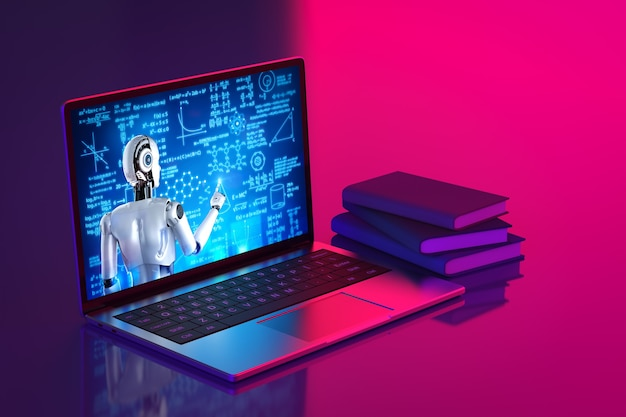 Representación 3d cyborg enseñanza o capacitación en línea en computadora portátil