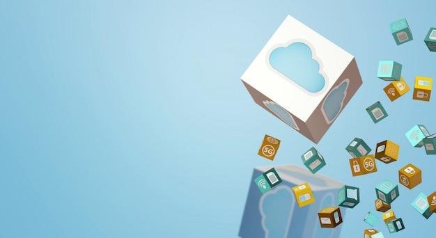 Representación 3d de datos en la nube para contenido tecnológico.