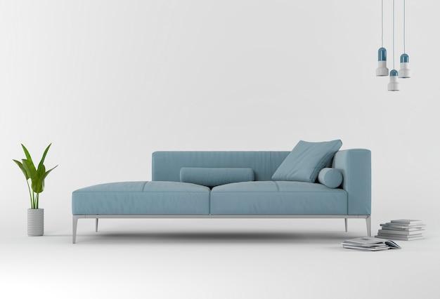 Representación 3d de studio con sofá y decoraciones.