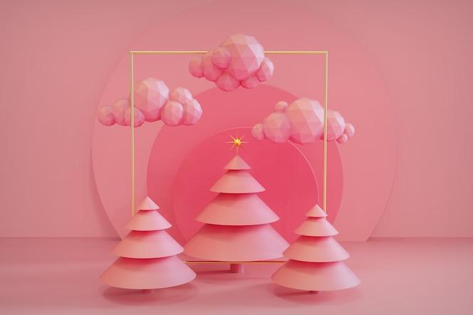 Representación 3d de la decoración del concepto de la escena del árbol de navidad de la forma geométrica abstracta