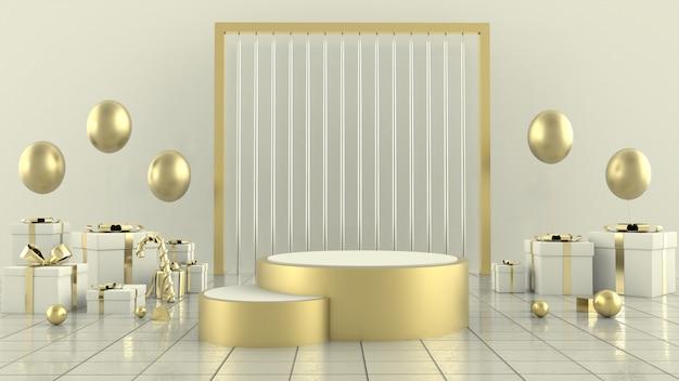 Representación 3d de la decoración de concepto de escena de árbol de navidad de forma geométrica - ilustración 3d