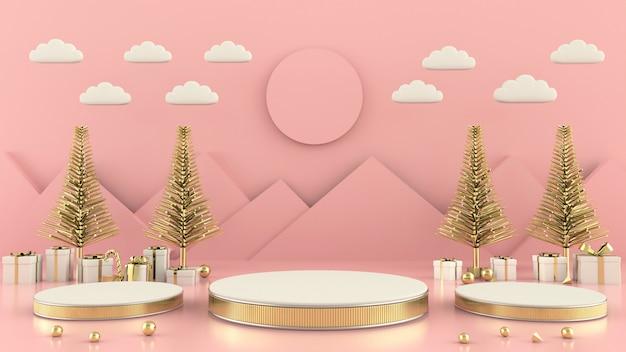Representación 3d de la decoración del concepto de la escena del árbol de navidad de la forma geométrica