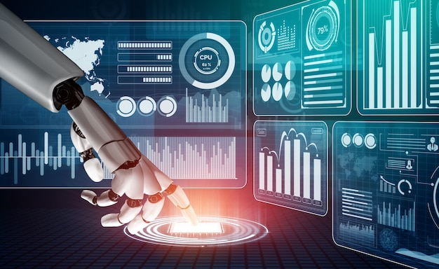 Representación 3d de desarrollo de tecnología de robot futurista, inteligencia artificial ai y concepto de aprendizaje automático. investigación en ciencia biónica robótica global para el futuro de la vida humana.