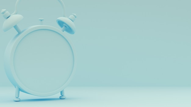 Representación 3d. despertador sobre un fondo azul claro