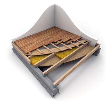 Representación 3d de detalles de pisos de construcción
