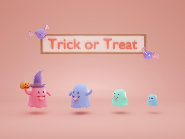 Representación 3d de dibujos animados lindo fantasma amigable.